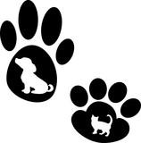 Силуэт лапа животного , лапа кошки лапа собаки