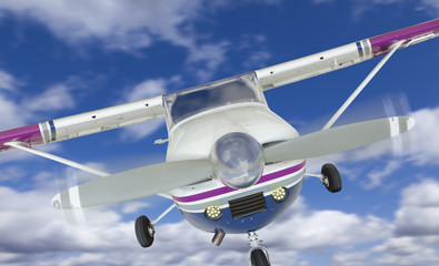Front of Cessna 172 Single Propeller Airplane In The Sky