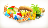 Fototapety Summer, beach set, vector illustration