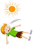 Boy feeling ill from heat stroke