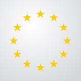 Icono plano estrellas de Union Europea en fondo degradado #2