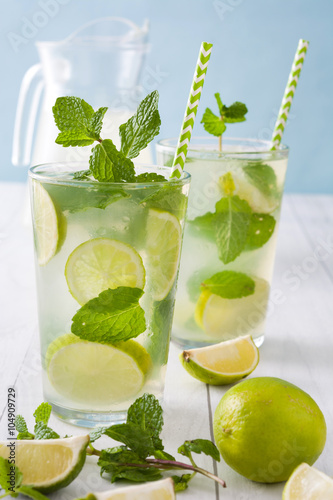 Poster Summer drink. Fresh mojito with lime and mint. Blue background