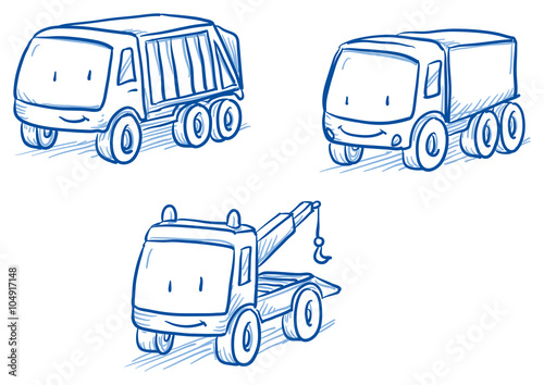 Plexiglas Auto Cute set of vehicles, trucks, tow truck. Hand drawn vector cartoon doodle illustration