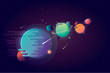 Set of unusual colorful vivid planets on universe background in modern cartoon style