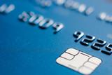 Blue credit card chip blurred atm emv