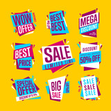Sale banners. Isolated banners set. Best price banner. Big sale banner. Collection of sale banners. Vector illustration.