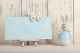 Fototapety Easter bunny and blank card for holiday greeting