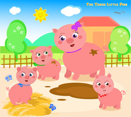 Once upon a time there was a mother pig with three little pigs.
