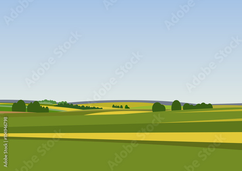 Aluminium Boerderij Green landscape with yellow fields.