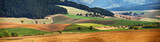 Green spring hills in Slovakia. April sunny countryside panorama