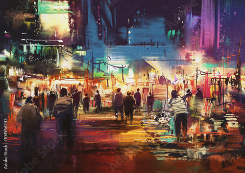 Juliste painting of shopping street city with colorful nightlife