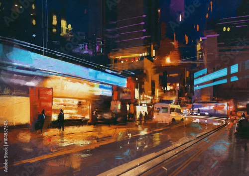 painting of street in modern urban city at night.