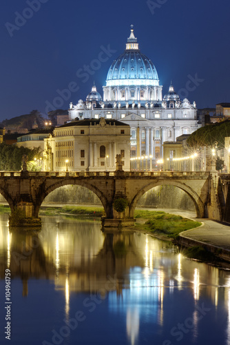 View of St. Peter's basilica in the night. Rome