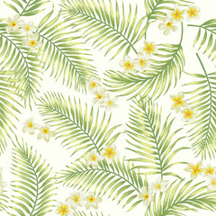 Seamless exotic pattern with tropical leaves.