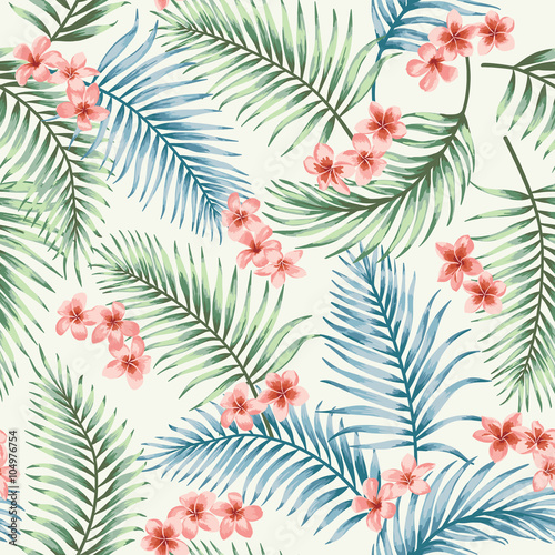 Cotton fabric Seamless pattern with tropical leaves and flowers.