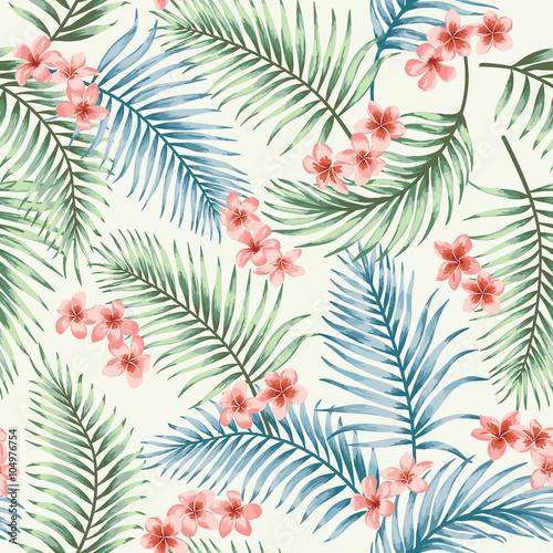 Stoffe zum Nähen Nahtlose Muster mit tropischen Blättern und Blüten.