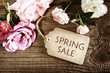Spring Sale message with small roses