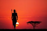 Indigenous man at sunset