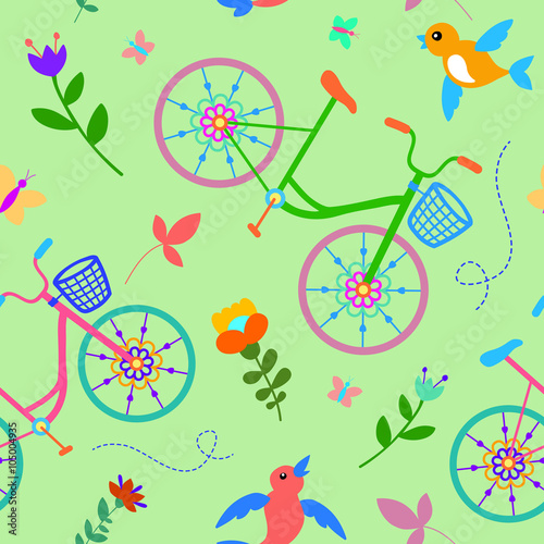 Cotton fabric Cute colorful beautiful bicycles seamless pattern with flowers and birds and decorative wheels