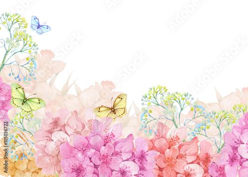 Fototapeta шаблон для поздравления,открытка иллюстрация акварелью,цветы и бабочки