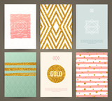 Fototapety Set of brochures in vintage style with hand drawn design elements. Vector templates. Trendy patterns and textures.
