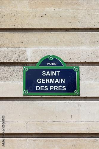 Poster Paris- plaque de rue - Saint-Germain-des-Prés