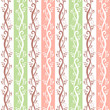 Vector seamless pink and green vintage floral pattern.