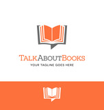 combination open book and talk bubble logo for business, group blog or website
