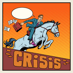 Businessman on a horse jumping barrier crisis