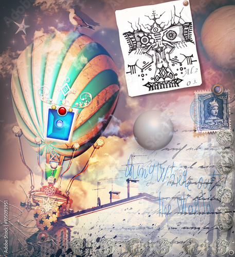 Staande foto Imagination Steampunk and old fashioned montgolfiers with old postcard and scraps