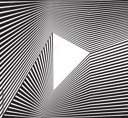 Plakat black and white mobious wave stripe optical abstract design