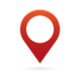 red map pointer icon marker GPS location flag symbol