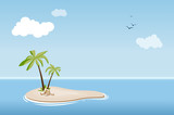 Fototapety Desert island with palm trees in sea