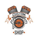 Engine of the motorcycle custom shop, vintage motorcycle emblems, labels, badges, logos and design elements.  vintage badge motorcycle