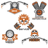 Set of vintage motorcycle emblems, labels, badges, logos and design elements.