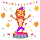 Vector illustration of  circus performance background  with cute  lion