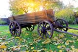 vintage wooden cart in garden