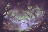 enchanted forest,fantasy landscape painting