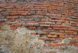 grunge background, red brick wall texture bright plaster wall an - 105152939