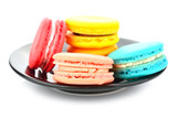 colorful macarons on white background - 105153198
