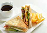 fresh and delicious classic club sandwich and cup of coffee and - 105153570