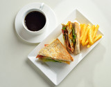 fresh and delicious classic club sandwich and cup of coffee and - 105153752