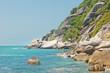 sea landscape, blue sky and rocky coast