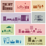 Fototapety Furniture icons