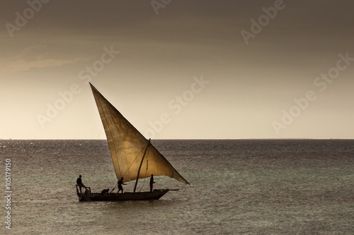 Canvas Zanzibar Dhow wooden fisher boat on the Indian Ocean near Zanzibar, Tanza