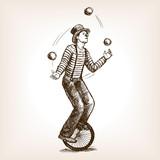 Juggler man on retro old unicycle sketch vector