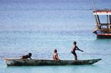 Boys Sitting in Canoe - Zanzibar - Tanzania