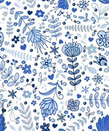 Materiał do szycia Abstract plants doodles pattern