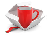 Open package with cup. Image with clipping path