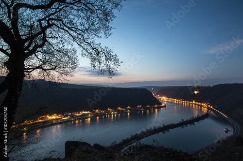 Foto op Canvas view from the german loreley rock in the evening